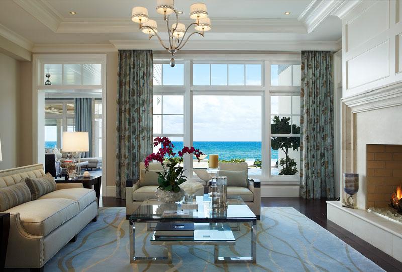 Luxury Custom Homebuilding   Waterfront Home   Coastal Living Room   Fireplace