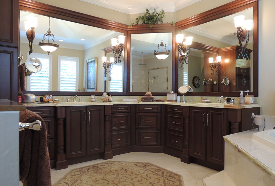 Master Bath | Traditional | Dark Wood Vanity | Double Sinks